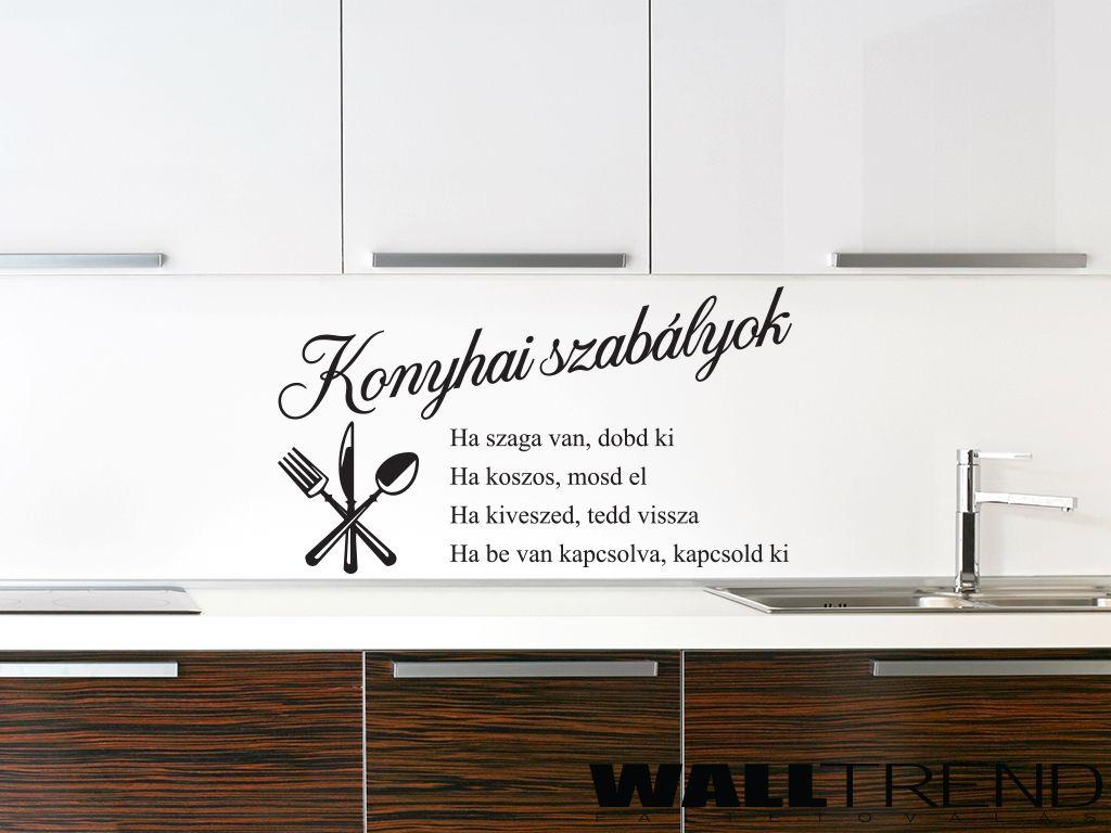 W 0422 Konyhai szabályok faltetoválás-falmatrica - WALLtrend ...